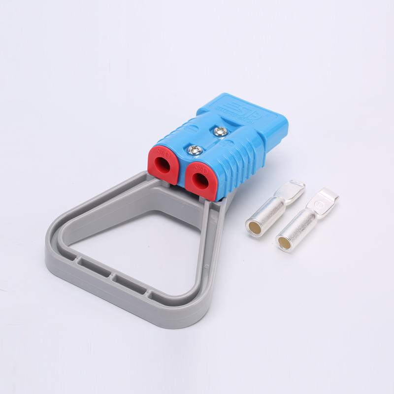 175A安德森插头连接器 蓝色  插拔力辅助拉手 固线塞 软防尘保护盖