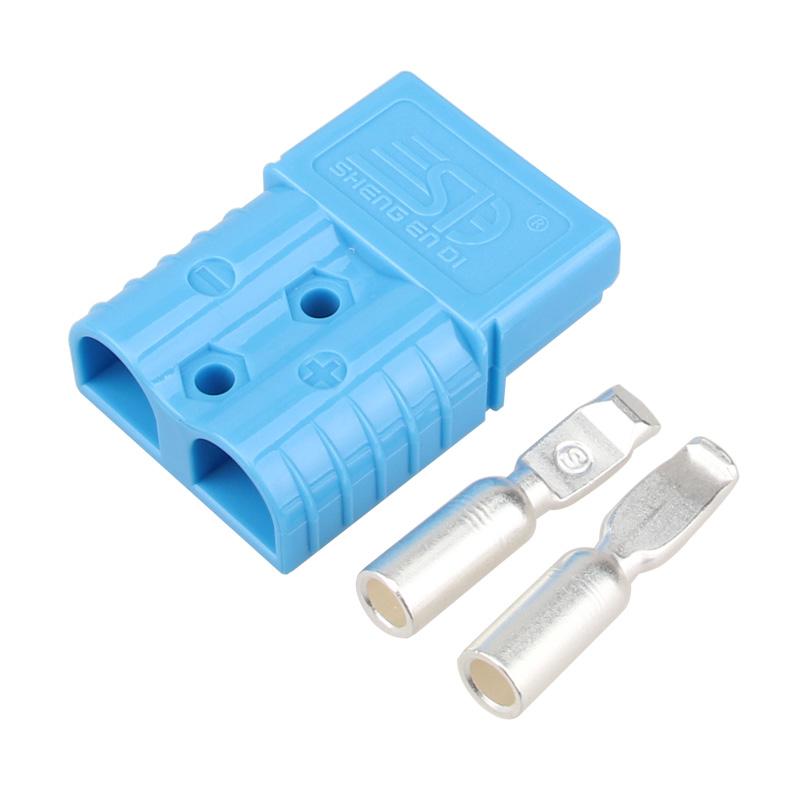 120A600V双极连接器 安德森插头 蓝色胶壳 锂电池充电插头 逆变器电源连接器